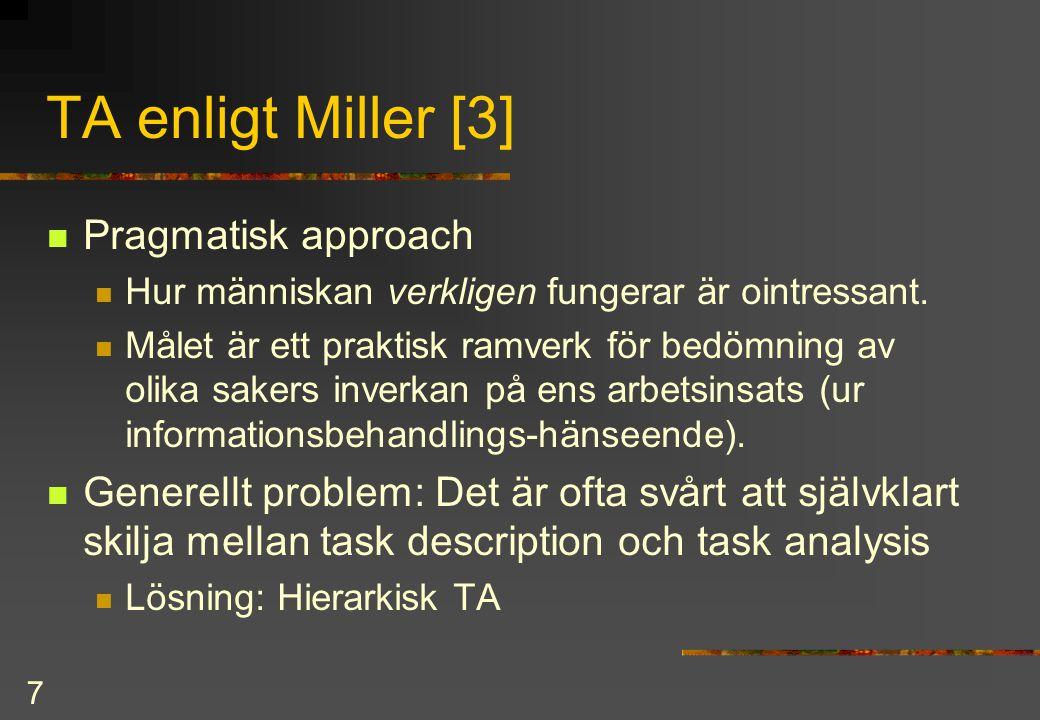TA enligt Miller [3] Pragmatisk approach